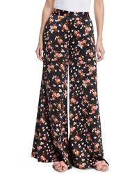 A.L.C. - Seton Floral-print Wide-leg Silk Trousers - Lyst