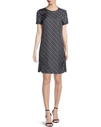 Theory - Triangle Stripe Silk Twill Tee Dress - Lyst