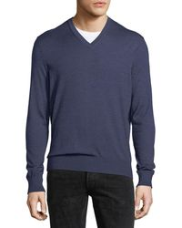 Ermenegildo Zegna - Cashmere-silk V-neck Sweater - Lyst