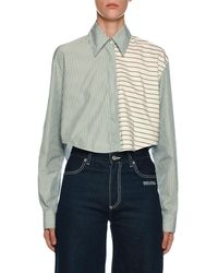 Off-White c/o Virgil Abloh Mixed-stripe Button-front Crop Shirt - Green