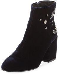 Ash Elixir Embroidered Velvet Boot - Black