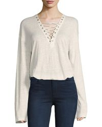 IRO - Alety Lace-up Long-sleeve Top - Lyst