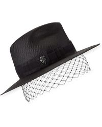 Philip Treacy Low Pinched Trilby W/ Veiling - Black