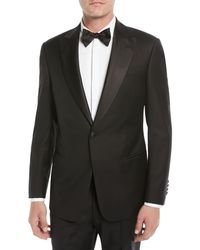 Emporio Armani Men's Super 130s Wool Two-piece Tuxedo Suit - Black