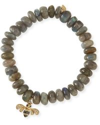 Sydney Evan - 10mm Smooth Labradorite Beaded Bracelet With Diamond & Sapphire Bee Charm - Lyst