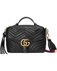 Gucci GG Marmont Small Chevron Quilted Leather Top-handle Camera Bag With Web Strap - Black
