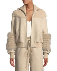 Sally Lapointe - Zip-front Dropped-shoulder Cotton Jersey Bomber Jacket W/ Fox Fur - Lyst
