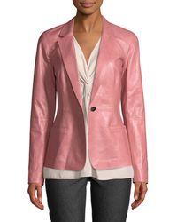 Lafayette 148 New York - Nikala Glazed Lambskin Jacket - Lyst