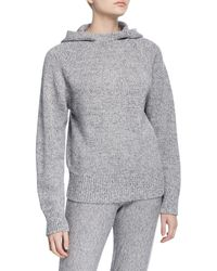 JOSEPH Mouline Knit Pullover Hoodie - Gray