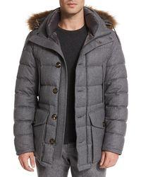 Moncler Rethel Fur-trimmed Wool Jacket