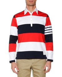Thom Browne - Men's Relaxed-fit Rugby-striped Long-sleeve Polo Shirt - Lyst
