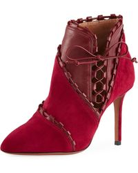 Alaïa - Mixed-media Stitched Ankle Booties - Lyst
