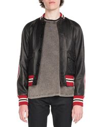 Saint Laurent - Teddy Leather Bomber Jacket - Lyst