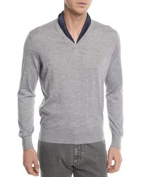 Ermenegildo Zegna - Cashmere-cotton V-neck Sweater - Lyst