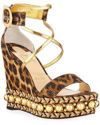 93d5965c2f4 Christian Louboutin - Chocazeppa Leopard Wedge Red Sole Espadrille Sandals  - Lyst