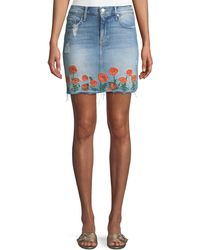 Mother - High-waist Frayed Embroidered Denim Mini Skirt - Lyst