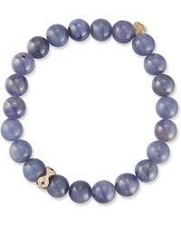 Sydney Evan - 14k Round Tanzanite Bracelet W/ Eye Rondelle - Lyst
