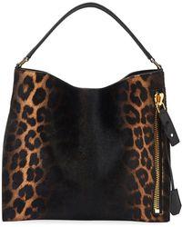 Tom Ford Alix Small Ombre Leopard Hobo Bag - Black
