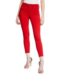 L'Agence Margot High-rise Skinny Ankle Jeans - Red