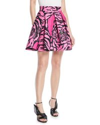 Valentino - Panther-print Flared Crepe Couture Mini Skirt - Lyst