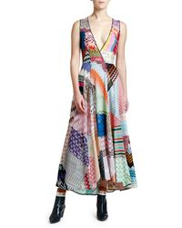 Missoni Sleeveless V-neck Patchwork Dress - Blue