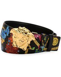 Versace - Men's Floral-print Medusa-buckle Belt - Lyst