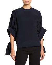JW Anderson - Crepe De Chine Exaggerated-Sleeve Top - Lyst