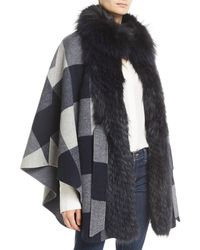 Belle Fare - Belted Check Cape W/ Fur Collar - Lyst