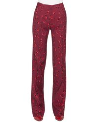 Akris Punto Mikka Floral-print Straight-leg Wool Pants - Red