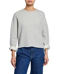 Vince - Crewneck Long-sleeve Cotton Sweatshirt - Lyst