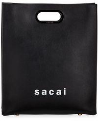Sacai Shopper Medium Smooth Top Handle Bag - Black