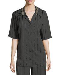 Alexander Wang - Striped Short-sleeve Pyjama Shirt - Lyst