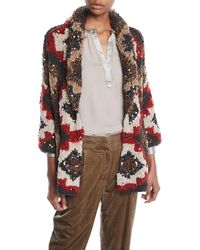 Brunello Cucinelli - Shawl-collar Paillette Cashmere-blend Cable-knit Cardigan - Lyst