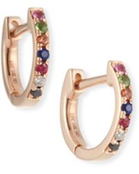EF Collection - 14k Rainbow Mini Huggie Earrings - Lyst