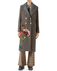 Gucci | Embroidered Wool-mohair Coat | Lyst