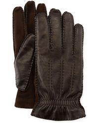 Brunello Cucinelli - Men's Three-cord Lamb Leather Gloves - Lyst