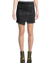 Hudson Jeans - High-rise Asymmetric-zip Moto Skirt - Lyst