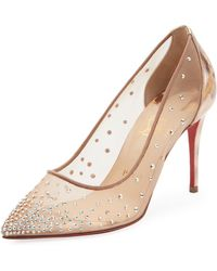 Christian Louboutin - Follies Strass 100 Silver Pumps - Lyst