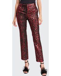 Libertine Metallic Cat Glittery Cheetah-print Skinny-leg Trousers - Red