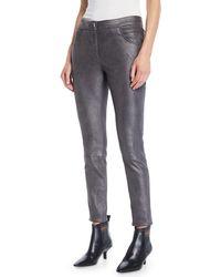 Brunello Cucinelli - Metallic-leather Skinny 5-pocket Legging - Lyst