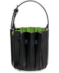 Sara Battaglia - Leather Mini Plissé Bucket Bag - Lyst