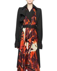 Alexander McQueen - Butterfly-print Silk Cotton Trench Coat - Lyst