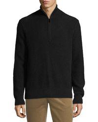 Vince Men's Half-zip Mock-neck Cashmere Pullover - Black