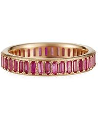 Armenta Cuento 14k Pink Sapphire Baguette Ring, Size 6.5