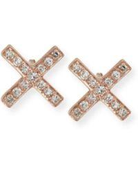 EF Collection Diamond X Stud Earring Pair - Black