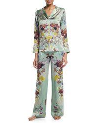 Meng Floral-print Silk Long Pyjama Set - Green