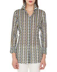 Akris - Long-sleeve Button-front Diamond-stripe Cotton Voile Blouse - Lyst