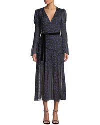 Diane von Furstenberg Ani Puff Sleeve Wrap Dress - Blue