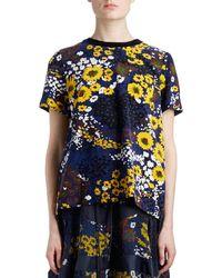 Sacai - Crewneck Short-sleeve Pleated-back Floral-print Cotton Tee - Lyst