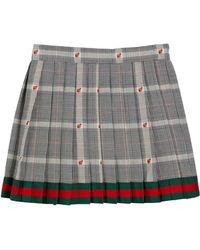 Gucci - Prince Of Wales Plaid & Ladybug Skirt W/ Web Hem - Lyst